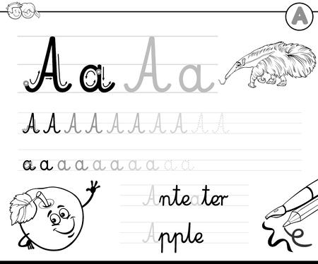 niños escribiendo: Ilustración de dibujos animados Blanco y Negro de habilidades de escritura Practicar con la letra A Hoja de Trabajo para Niños Coloring Book Vectores