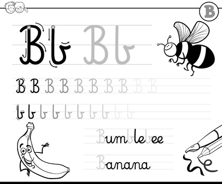 practise: Black and White Cartoon Illustration of Writing Skills Practise with Letter B Worksheet for Children Coloring Book