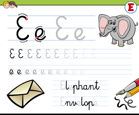 write a letter: Cartoon Illustration of Writing Skills Practise with Letter E Worksheet for Children