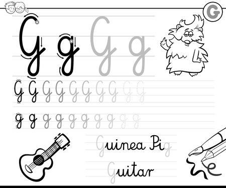 Dibujos Animados De Blanco Y Negro Ilustración De Escritura Práctica ...