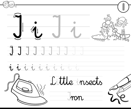 letter i: Black and White Cartoon Illustration of Writing Skills Practice with Letter I Worksheet for Children Coloring Book