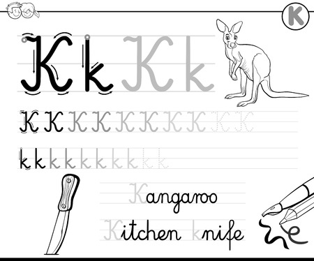 literate: Black and White Cartoon Illustration of Writing Skills Practice with Letter K Worksheet for Children Coloring Book