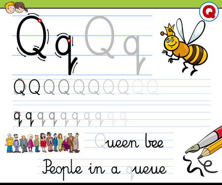 writing letter: Cartoon Illustration of Writing Skills Practice with Letter Q Worksheet for Children Illustration