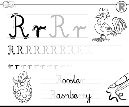literate: Black and White Cartoon Illustration of Writing Skills Practice with Letter R Worksheet for Children Coloring Book