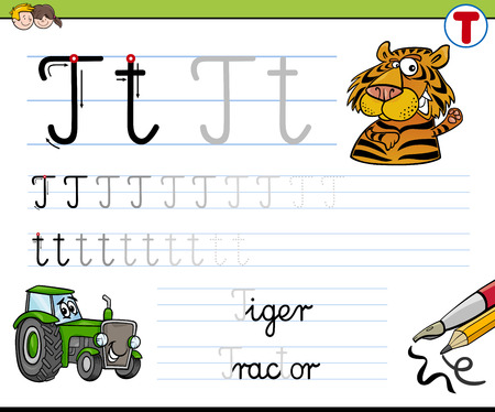 writing letter: Cartoon Illustration of Writing Skills Practice with Letter T Worksheet for Children