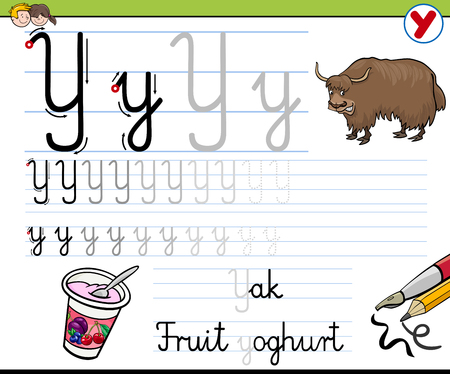 writing letter: Cartoon Illustration of Writing Skills Practice with Letter Y Worksheet for Children