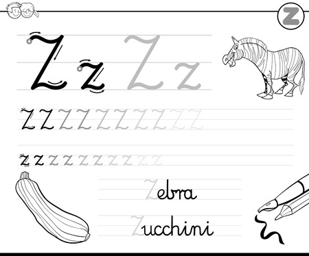 school children: Black and White Cartoon Illustration of Writing Skills Practice with Letter Z Worksheet for Children Coloring Book Illustration