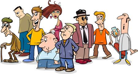 grupo de hombres: Ilustración de dibujos animados humorística de personas Grupo Caracteres Vectores