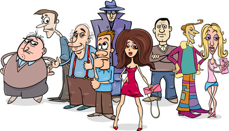individuals: Cartoon Humorous Illustration of People Characters Group