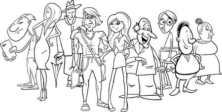 Dibujos Animados De Blanco Y Negro Ilustración De La Gente