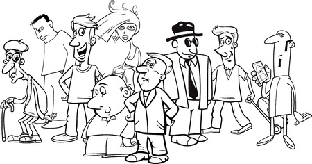 humorous: Black and White Cartoon Humorous Illustration of People Characters Group