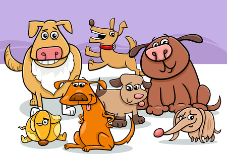 funny dogs: Cartoon Illustration of Funny Dogs Pet Animal Characters Group