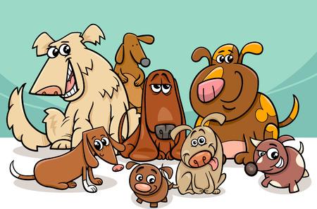 perros graciosos: Ilustración de dibujos animados divertido de los perros de mascotas Grupo Caracteres Vectores