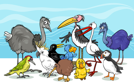 emu bird: Cartoon Illustration of Various Birds Animal Characters Group