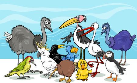 emu: Ilustración de dibujos animados de diversas aves Grupo Animal Characters