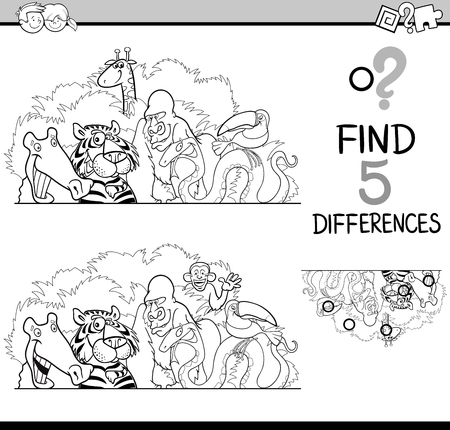 riddles: Black and White Cartoon Illustration of Finding Differences Educational Activity Task for Preschool Children with Wild Animal Characters for Coloring Book