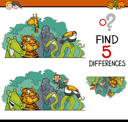 task: Cartoon Illustration of Finding Differences Educational Activity Task for Preschool Children with Wild Animal Characters