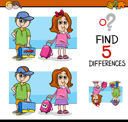 Cartoon Illustration of Finding Differences Educational Activity Task with School Children