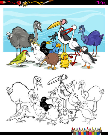 Black and White Cartoon Illustration of Birds Animal Characters for Coloring Book