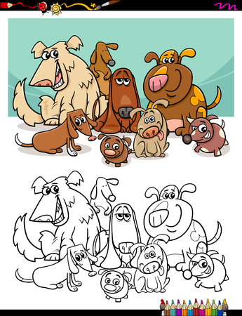 black dog: Black and White Cartoon Illustration of Dog Pet Characters Group Coloring Book Illustration