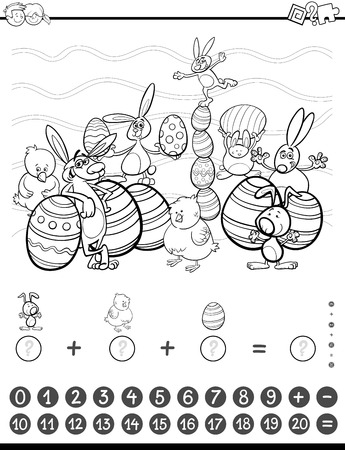 addition: Black and White Cartoon Illustration of Educational Mathematical Counting and Addition Activity Task for Children with Easter Characters for Coloring Book