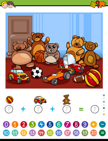 task: Cartoon Illustration of Educational Mathematical Counting and Addition Activity Task for Children with Toys