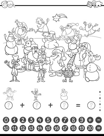 addition: Black and White Cartoon Illustration of Educational Mathematical Counting and Addition Activity Task for Children with Christmas Characters for Coloring Book