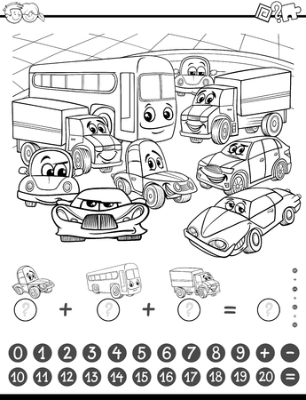 addition: Black and White Cartoon Illustration of Educational Mathematical and Counting Addition Activity Task for Children with Cars for Coloring Book