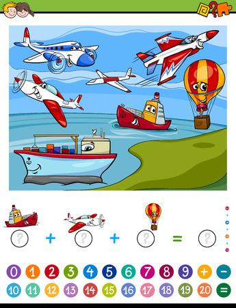 Illustratie van het beeldverhaal van Educatieve wiskundige tellen en Addition Task activiteit voor kinderen met vliegtuigen en schepen