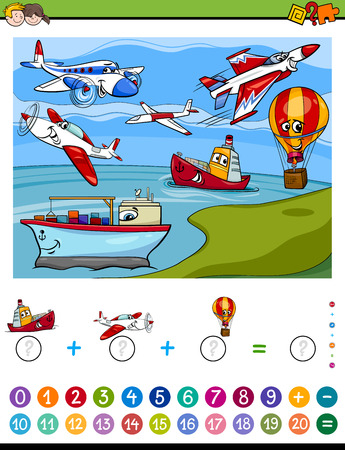 Cartoon Illustration of Educational Mathematical Counting and Addition Activity Task for Children with Planes and Ships Illustration