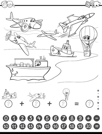 addition: Black and White Cartoon Illustration of Educational Mathematical Counting and Addition Activity Task for Children with Planes and Ships for Coloring Book