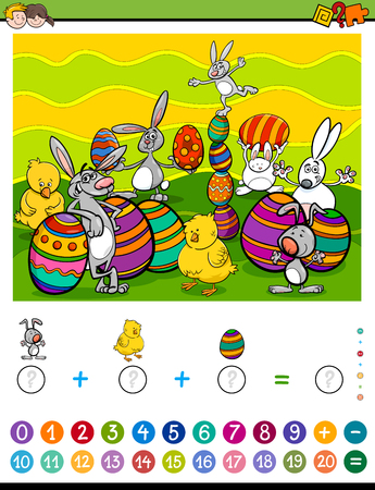 addition: Cartoon Illustration of Educational Mathematical Counting and Addition Activity Task for Children with Easter Characters