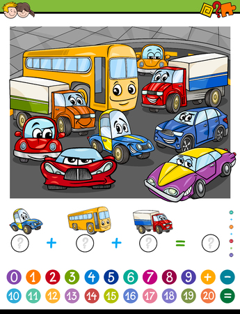 task: Cartoon Illustration of Educational Mathematical Counting and Addition Activity Task for Children with Cars