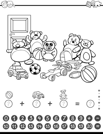addition: Black and White Cartoon Illustration of Educational Mathematical Counting and Addition Activity Task for Children with Toys for Coloring Book Illustration