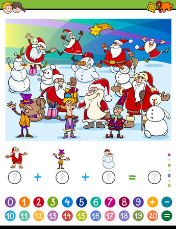 addition: Cartoon Illustration of Educational Mathematical Counting and Addition Activity Task for Children with Christmas Characters