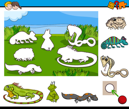 amphibian: Cartoon Illustration of Educational Activity for Preschool Children with Reptile and Amphibian Animal Characters