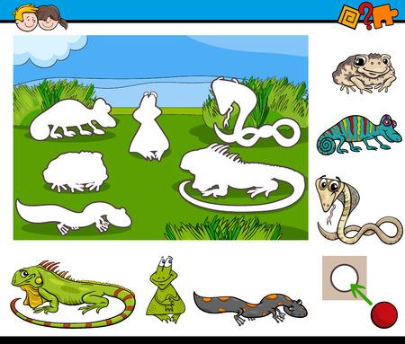 Illustratie van het beeldverhaal van educatieve activiteit voor kleuters met reptielen en amfibieën dierlijke karakters