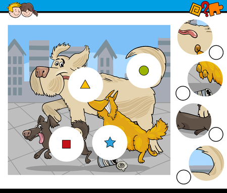 Cartoon Illustration of Educational Match the Pieces Activity Task for Preschool Children with Running Dogs