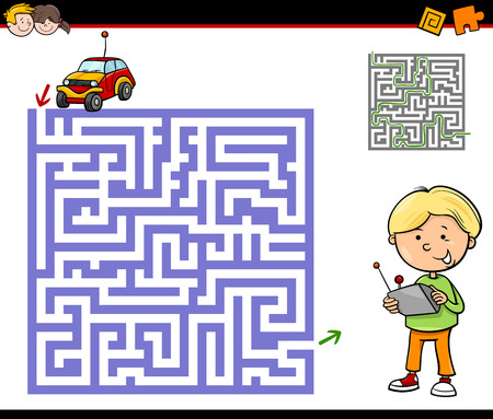 preschool children: Cartoon Illustration of Education Maze or Labyrinth Activity Task for Preschool Children with Boy and Remote Car