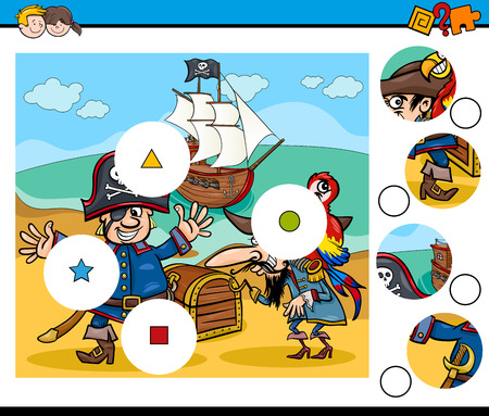 task: Cartoon Illustration of Educational Activity Task for Preschool Children with Funny Pirates Characters