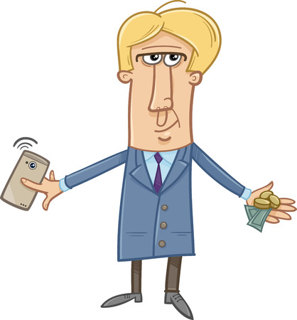 smart man: Cartoon Illustration of Man with Cash and Smart Phone