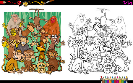 ape: Cartoon Illustration of Monkey and Ape Characters Coloring Book Activity