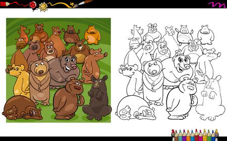 Ilustración De Dibujos Animados De Personajes De Animales De Oso ...