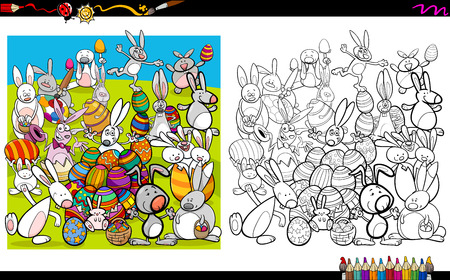 Cartoon Illustration of Easter Bunny Characters Coloring Book Activity