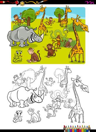 safari animal: Cartoon Illustration of Wild Safari Animal Characters Coloring Book Illustration