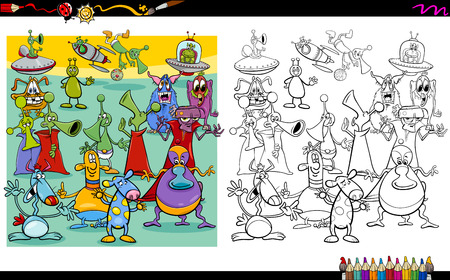creature: Cartoon Illustration of Alien Characters Coloring Book Activity Illustration