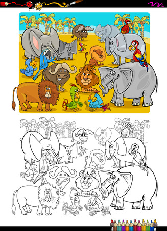 safari animal: Cartoon Illustration of Safari Animal Characters Coloring Page Illustration