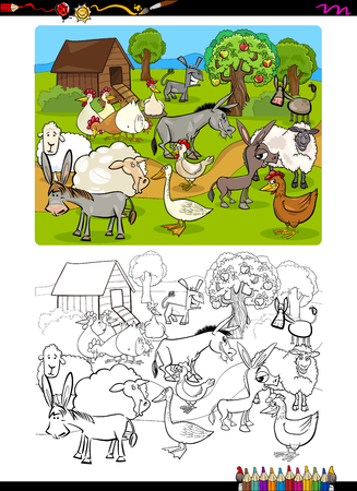 funny farm: Cartoon Illustration of Funny Farm Animal Characters Coloring Book