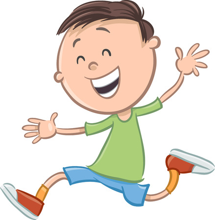 school age: Cartoon Illustration of Happy Preschool or Elementary School Age Boy