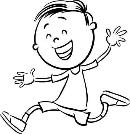 elementary age: Black and White Cartoon Illustration of Happy Preschool or Elementary School Age Boy Coloring Book Illustration